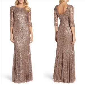 Adrianna Papell Long Sleeve Rose Gold Sequin Gown
